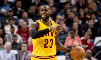 Feb 14, 2017; Minneapolis, MN, USA; Cleveland Cavaliers forward LeBron James (23) calls a play during the first quarter against the Minnesota Timberwolves at Target Center. Mandatory Credit: Brace Hemmelgarn-USA TODAY Sports ORG XMIT: USATSI-325020 ORIG FILE ID: 20170214_gma_ah7_049.jpg