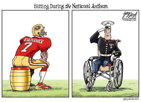 Cartoonist Gary Varvel: Sitting during the National Anthem